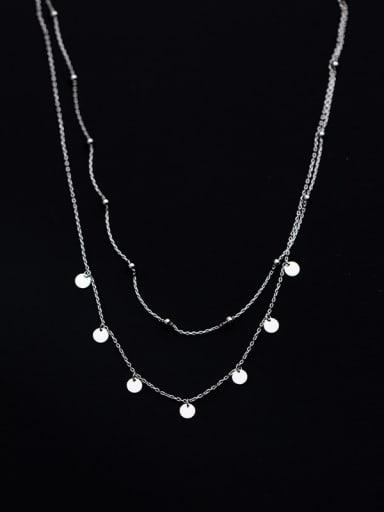 925 Sterling Silver Round Minimalist Multi Strand Necklace