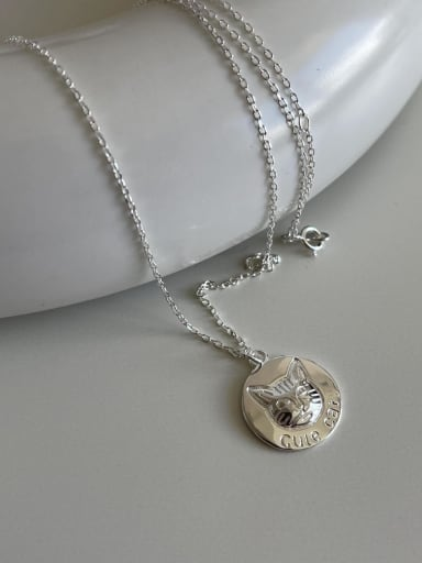 925 Sterling Silver Geometric VintageCat Head  Pendant Necklace