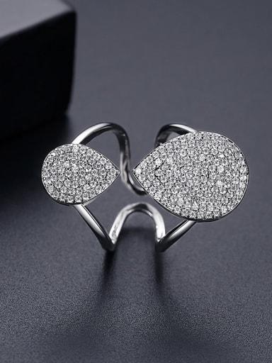 Platinum t18i13 Copper Cubic Zirconia Geometric Luxury Band Ring