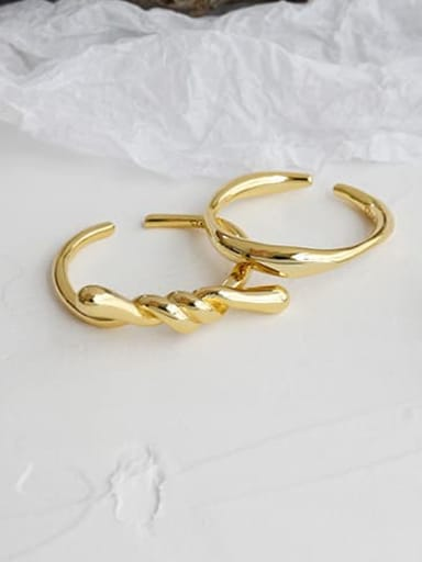 925 Sterling Silver Irregular Minimalist Free Size  Band Ring