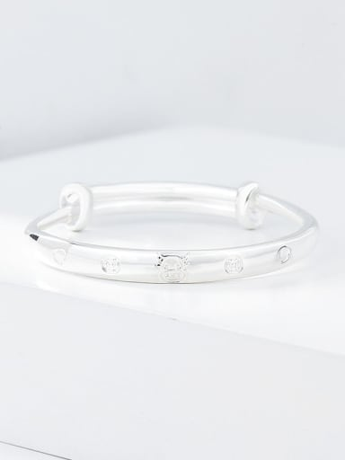 925 Sterling Silver Cute cattle Band Bangle