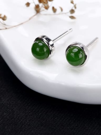 Jasper 925 Sterling Silver Jade Round Cute Stud Earring