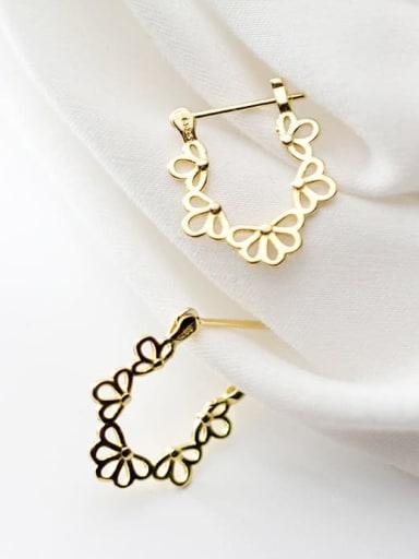 925 Sterling Silver hollow Flower Earring