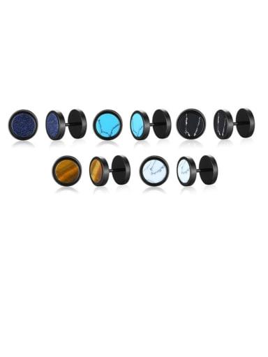 Titanium Steel Turquoise Geometric Hip Hop Stud Earring