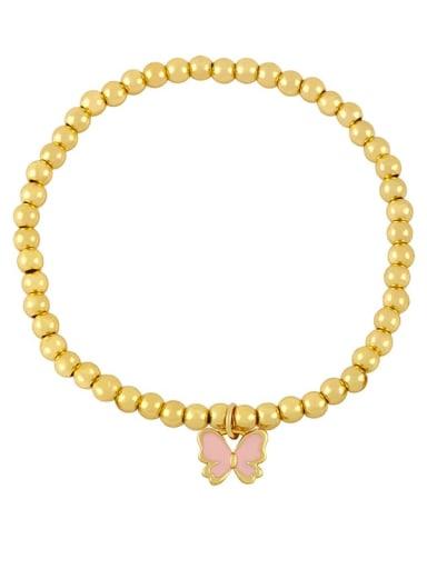 Pink Brass Enamel Butterfly Minimalist Beaded Bracelet