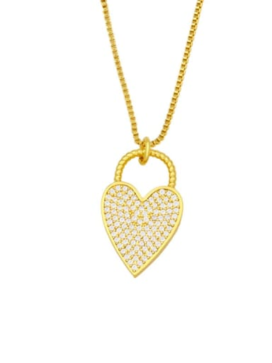 C Brass Cubic Zirconia Heart Hip Hop Necklace