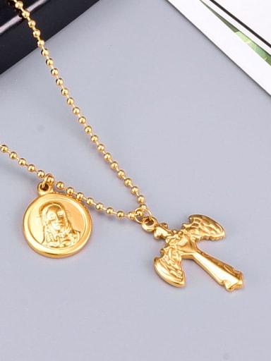 Titanium Letter Vintage  cross Regligious Necklace