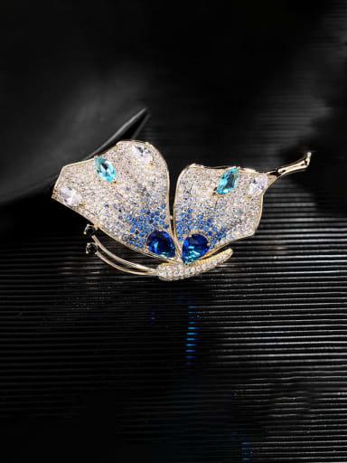 Golden Blue zirconium Brass Cubic Zirconia Butterfly Trend Brooch