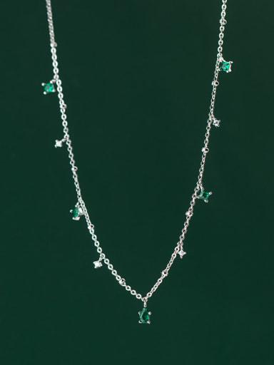 925 Sterling Silver Cubic Zirconia Geometric Minimalist Necklace