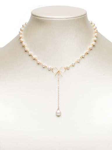 Brass Freshwater Pearl Bowknot Minimalist Lariat Necklace