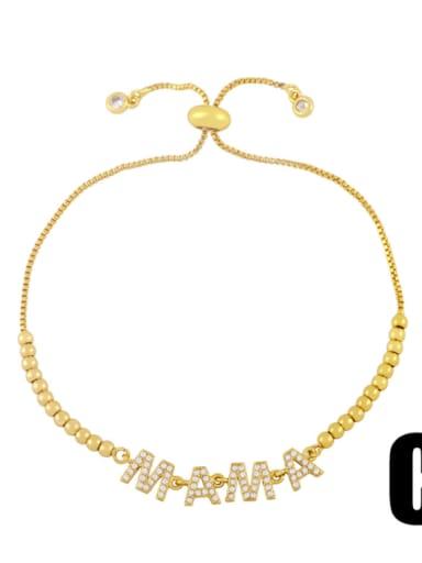 C Brass Cubic Zirconia Letter Minimalist Beaded Bracelet