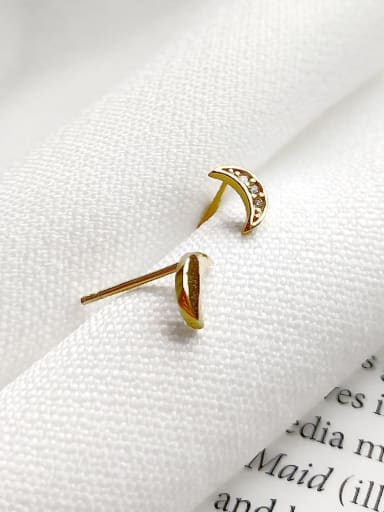 925 Sterling Silver Rhinestone Mini Asymmetric Moon Stud Earring
