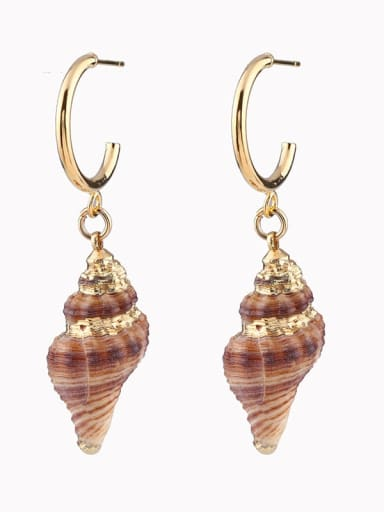 Big earrings Brass Shell Irregular Bohemia Huggie Earring