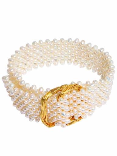 Brass Freshwater Pearl Geometric Luxury Band Bangle