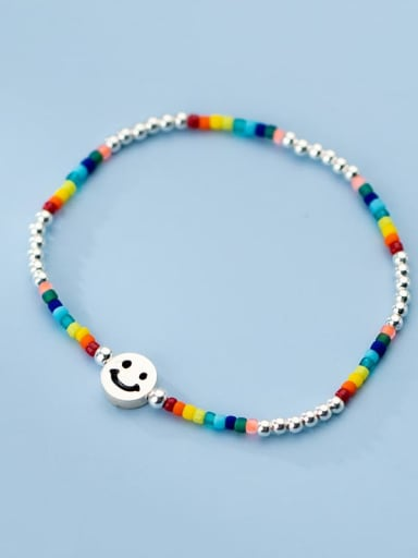 925 Sterling Silver Multi Color Round Minimalist Stretch Bracelet