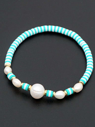 ZZ B200056E Freshwater Pearl Multi Color Polymer Clay Round Bohemia Stretch Bracelet