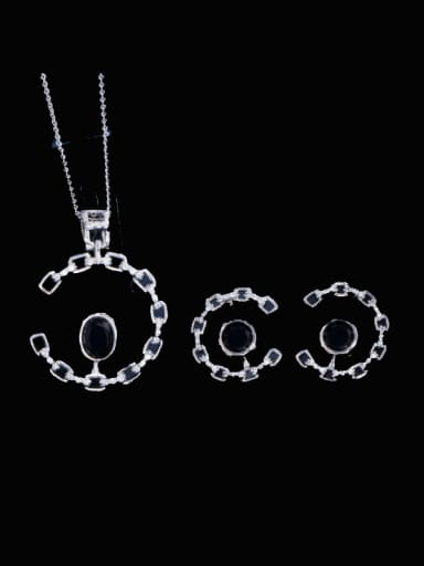black Brass Cubic Zirconia Luxury Oval Earring and Necklace Set