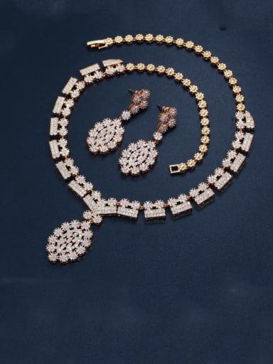 Brass Cubic Zirconia Luxury Geometric  Earring and Necklace Set