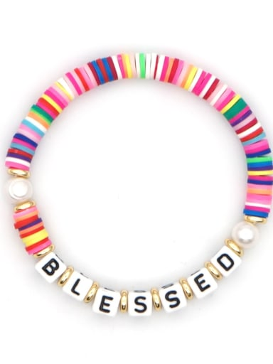 QT B200146A Stainless steel Freshwater Pearl Multi Color Polymer Clay Letter Bohemia Handmade Weave Bracelet