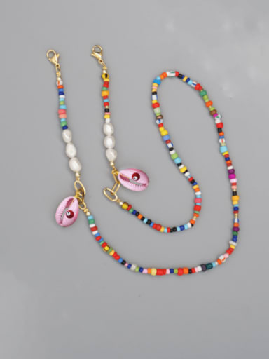 ZZ N200068A Stainless steel Imitation Pearl Multi Color Enamel Letter Bohemia Hand-woven Necklace