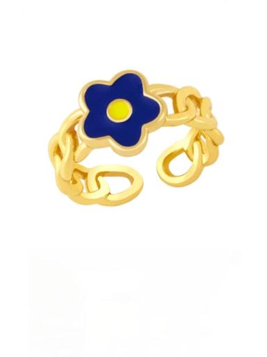 Dark blue Brass Enamel Flower Minimalist Band Ring