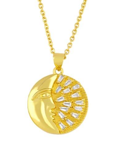 moon Brass Cubic Zirconia Flower Vintage Necklace