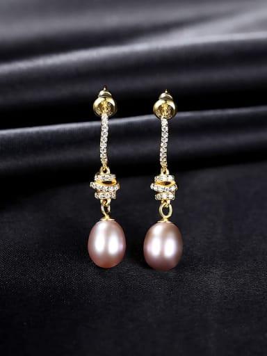 Pu 9B04 925 Sterling Silver Imitation Pearl Water Drop Dainty Drop Earring
