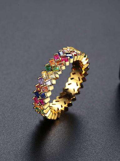 18K T17B16 Brass Cubic Zirconia Geometric Dainty Band Ring