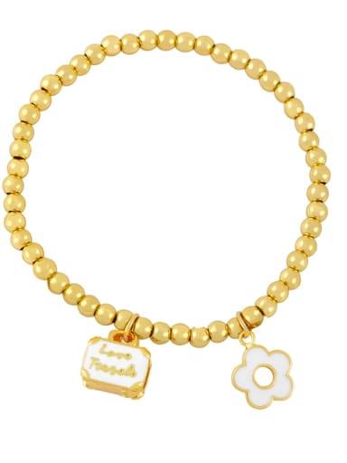 white Brass Enamel Flower Trend Beaded Bracelet
