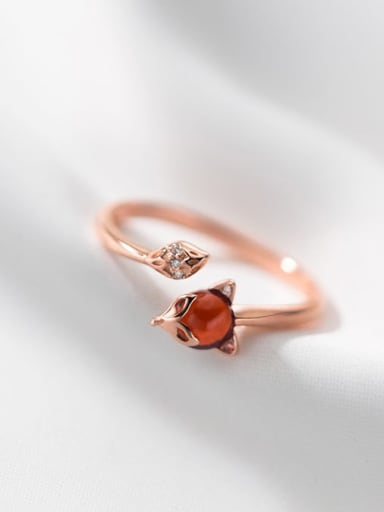 rose gold 925 Sterling Silver Garnet Fox Cute Band Ring