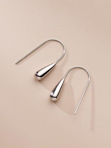 silver 925 Sterling Silver Water Drop Minimalist Hook Earring