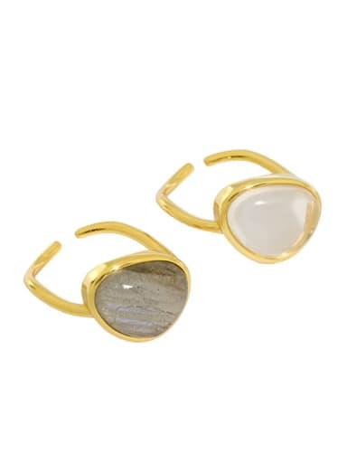 925 Sterling Silver Cats Eye Geometric Minimalist Band Ring