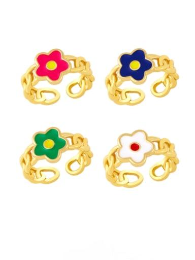 Brass Enamel Flower Minimalist Band Ring