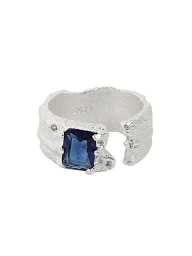 Silver [bluestone] 925 Sterling Silver Cubic Zirconia Irregular Vintage Band Ring