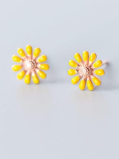 925 Sterling Silver Enamel Flower Minimalist Stud Earring