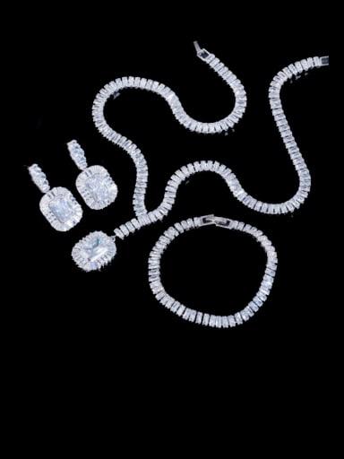 White three piece set Brass Cubic Zirconia Luxury Geometric  Earring Braclete and Necklace Set