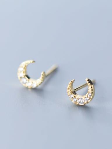925 Sterling Silver Cubic Zirconia Moon Dainty Stud Earring