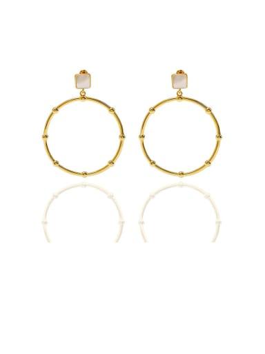 gold white Copper Malchite  Hollow Round Minimalist Chandelier Earring