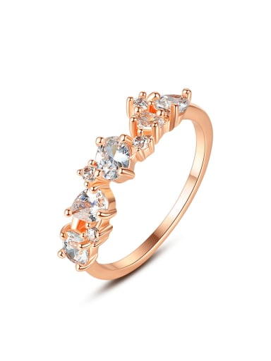 Copper Cubic Zirconia Irregular Minimalist Band Ring