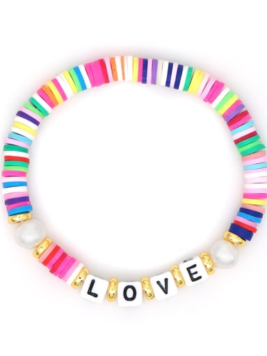 Stainless steel Multi Color Polymer Clay Letter Bohemia Stretch Bracelet