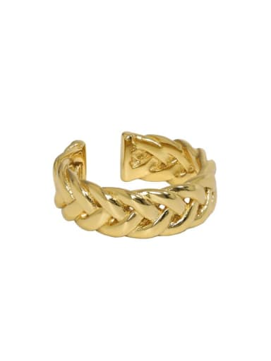 18K gold [No. 13 adjustable] 925 Sterling Silver Hollow Geometric Vintage Band Ring