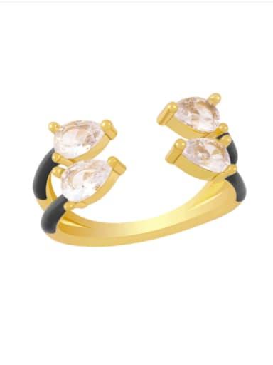 black Brass Enamel Water Drop Trend Stackable Ring