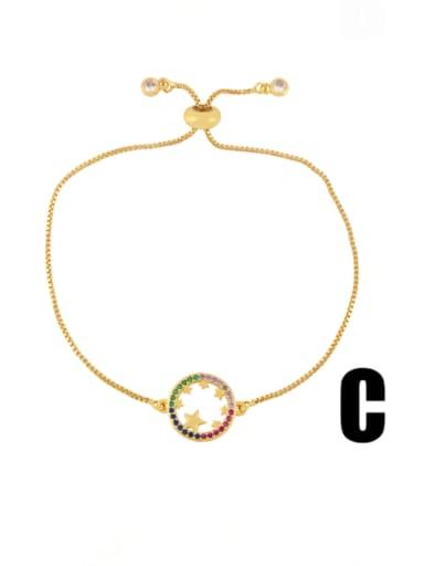 C Brass Cubic Zirconia Heart Vintage Adjustable Bracelet