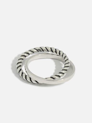 925 Sterling Silver Cross Hemp rope Vintage Stackable Ring