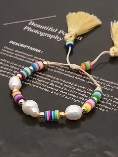Stainless steel Freshwater Pearl Polymer Clay Irregular Bohemia Adjustable Bracelet