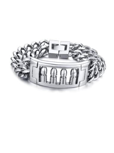 Stainless steel Geo Hip Hop  Bullet double chain Strand Bracelet