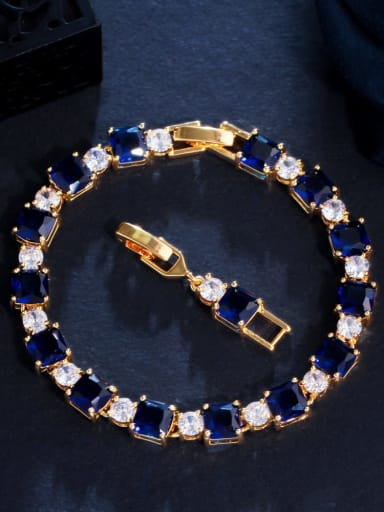 blue Brass Cubic Zirconia Geometric Luxury Bracelet
