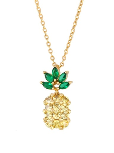 pineapple Brass Cubic Zirconia Friut Vintage Necklace