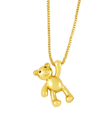 B Brass Icon Cute Little bear leopard head Pendant Necklace