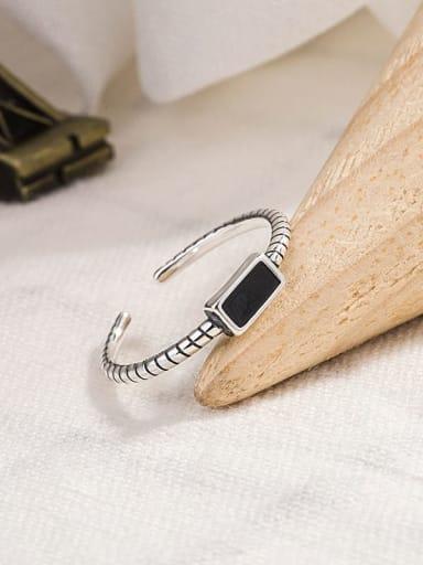 925 Sterling Silver Enamel Geometric Vintage Midi Ring